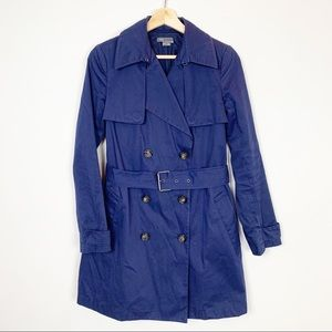 VINCE Navy Trench Coat Classic XS Fall Belted